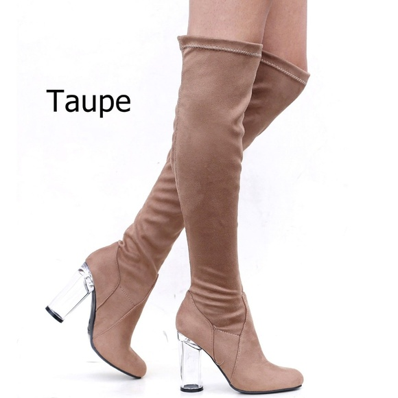 d64a030d79d New Taupe Stretch Suede Over Knee Clear Heel Boots